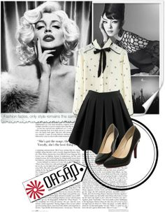 oasap 20 por karic-lejla con cushioned shoes ❤ liked on Polyvore    White button up shirt / Knee length a line skirt / Cushioned shoes perfect