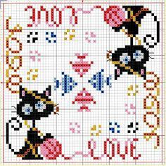 biscornu cat pattern Picture from Cross stitch. Biscornu Cross Stitch, Cat Cross Stitches, Mini Cross Stitch, Cross Stitch Animals, Cross Stitch Charts, Cross Stitch Designs, Cross Stitching, Cross Stitch Embroidery, Embroidery Patterns