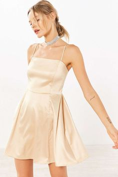 Kimchi Blue Satin Straight-Neck Fit + Flare Mini Dress - Urban Outfitters