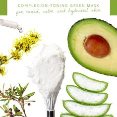 Complexion-Toning Green Mask  This everything-but-the-kitchen sink mask tones, tightens, purifies, calms and hydrates. Mash half an avocado, add a tablespoon of pure aloe gel, one egg white (beaten until stiff), a drop of tea tree oil, and three drops of witch hazel.
