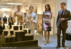 Crown Princess Mary of Denmark and Crown Prince Frederik of Denmark, Japanese Princess Takamado and her daughter Princess Tsuguko attended the official opening of the exhibition about Greenland, 'Spiritual Greenland' in Tokyo on March 27, 2015. (The Danish royal couple are on a three-day visit to promote Greenland)