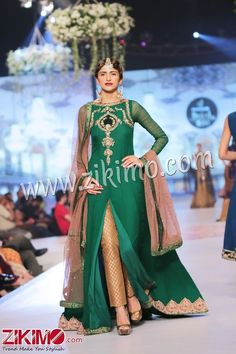 Image result for pakistani party dresses in green and golden colour