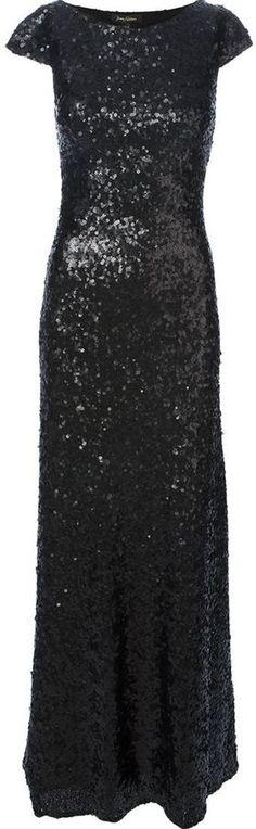 €1,278, Vestido de Noche de Lentejuelas Negro de Jenny Packham. De farfetch.com. Detalles: https://lookastic.com/women/shop_items/133563/redirect