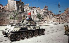 The Liberation of Sevastopol, Crimea May 1944 A Soviet T34/76 Model 1943 tank in Lenin Street, Sevastopol, Crimea.
