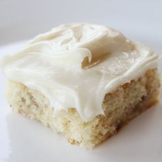 Banana Bars - Butter, sugar, eggs, sour cream, vanilla, flour, soda, salt, bananas, cream cheese, powered sugar.