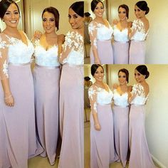 Two Toned Bridesmaid Dress with 3-D Flowers, V-neck Lace Bridesmaid Dresses with 3/4 Sleeves, Elegant Long Bridesmaid Dress with V-back, #01012753 · VanessaWu · Online Store Powered by Storenvy