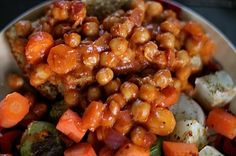 Sloppy Chickpeas - basically a can of chickpeas cooked with onions and carrots, then doused in a homemade sloppy sauce of bbq sauce, ketchup, and mustard.