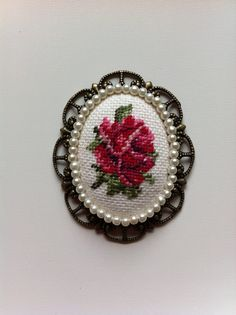Vintage Rose Cross Stitch Pendant Oval by UncommonCommonThings