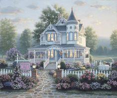 Thomas Kinkade, Beautiful Buildings, Beautiful Homes, Belle Image Nature, Casa Anime, Victorian Style Homes, Garden Villa, Cottage Art, Garden Cottage