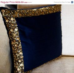 10 OFF Throw Pillows  Navy Blue cushion with gold by AmoreBeaute
