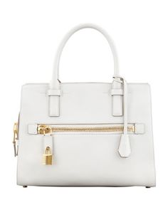 Charlotte Small Leather Tote Bag, White by Tom Ford at Bergdorf Goodman.