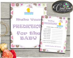 PREDICTIONS FOR BABY rubber duck sign and cards activity printable for baby girl shower purple pink theme, Jpg Pdf, instant download - rd001 #babyshowergifts #babyshowerideas
