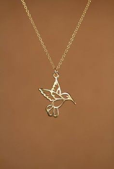 Humming bird necklace  gold hummingbird necklace  by BubuRuby, $26.00 Silver Diamonds, Craft Jewelry, Bird Jewelry, Cute Jewelry, Jewelry Box, Jewelery, Silver Jewelry, Silver Necklaces, Gold Jewellery