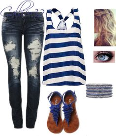 """Blue stripes"" by callico32 on Polyvore! Love the sandals but I hate ripped jeans"
