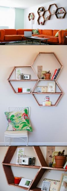Cool DIY Honeycomb Shelves ideas
