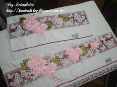 LOY HANDCRAFTS, TOWELS EMBROYDERED WITH SATIN RIBBON ROSES: Conjunto de tolhas Karsten, bordada com flores de ...
