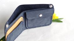 Blue wallet Leather wallet Mens wallet Womens by creamcaroll