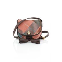 Vivienne Westwood Winter Tartan 6947 Crossbody Bag ($470) ❤ liked on Polyvore featuring bags, handbags, shoulder bags, gold cross body purse, plaid handbags, gold crossbody, white crossbody handbags and white cross body purse