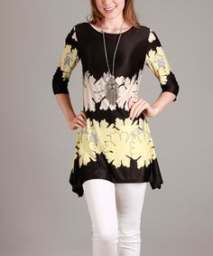Another great find on #zulily! Black & Light Yellow Floral Three-Quarter Sleeve Tunic #zulilyfinds