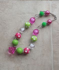 Pink and Green Bubblegum Chunky Bead Necklacephoto by BottomsNBows