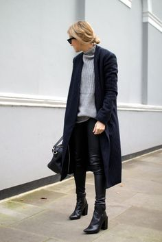 leather trousers with coat