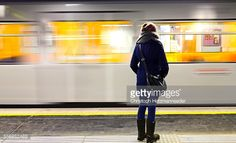 Foto stock : Woman at train station