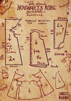Hogwarts Harry Potter robe tutorial and pattern by https://dragowlin.deviantart.com on @DeviantArt