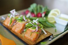 Cedar Planked Salmon with Zesty Raddish and Snap Pea Salad