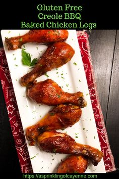 A flavor-popping homemade pantry sauce takes these marinated Gluten Free Creole BBQ baked chicken legs over the top in terms of flavor and texture. Best Gluten Free Recipes, Whole Food Recipes, Delicious Recipes, Baked Chicken Legs, Vegetarian Appetizers, Gluten Free Chicken, Foods With Gluten, Mediterranean Recipes, Southern Recipes