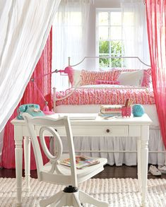 "i wonder if i could ""diy"" the curtains around the bed.. pb teen: amazing, & expensive."