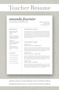 Teacher Resume Template By Resumefoundry On Creativemarket