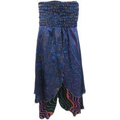 Bandeau Beach Dress Navy Blue Ethnic Printed Vintage Silk Sari Maxi... (1,325 INR) via Polyvore featuring skirts, floor length skirt, navy blue maxi skirt, ankle length skirts, blue skirt and navy blue skirt