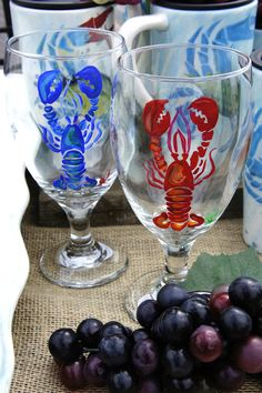 Red and Blue Lobsters - Set of 2 Wine Glasses - His and Her set - Hand painted glasses