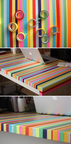 Totally doing this to my desk! I can't be bothered to get a new one ( no matter how much Lliam says he wants to get me one). This would be so much better. Could do it with my book cases too.
