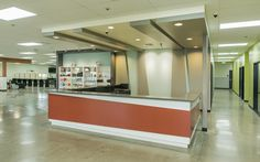 NW College - reception desk, retail, concrete floors, Beauty School in Springfield, OR Interior design and construction by Emmett Phair Design-Build