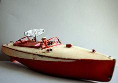 Rare speed boat Français JEP 1940s  numéro 2 vintage par FRENCHWAVE