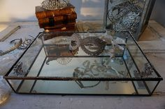 Vintage glass display case mirrored bottom by AnitaSperoDesign