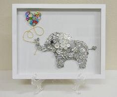 Elephant Love  Framed Nursery Button Art by CustomsByCristina