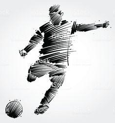soccer player kicking the ball made of black brushstrokes on light… - Pfau Schminke Gesicht Art Football, Football Logo Design, Football Tattoo, Soccer Art, Tattoo Futbol, Soccer Tattoos, Soccer Drawing, Ball Drawing, Scribble Art