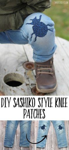 Try out some stylish mending this year! See how to sashiko stitch a  fun patch right over a rip or hole. Fun hand sewing tutorial to keep  old clothes out of the landfill. #sewing #mending