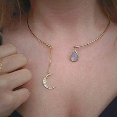 Cute & Unique Cuff Collar Choker Necklace with Moon Chain Drop and Gemstone Statement Jewelry - collar de gargantilla de luna - www.MyBodiArt.com