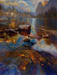 """'Gold in Opabin' 48"""" x 36"""" Oil on Canvas by Brent Lynch"""