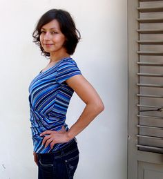 Blue Striped Fun Day Top with Short Sleeves by YollaKlea on Etsy, $45.00