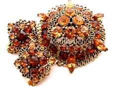 Vintage Brown Rhinestone Demi Set Brooch Earrings Gold Amber Topaz