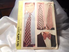 "McCALL'S #2971 3 1/2"" & 4 1/2"" WIDE NECKTIES AND 3 1/2"" BOW TIE PATTERN SOME CUT #McCalls"