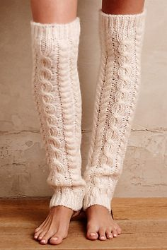 White Cable Knit Legwarmers