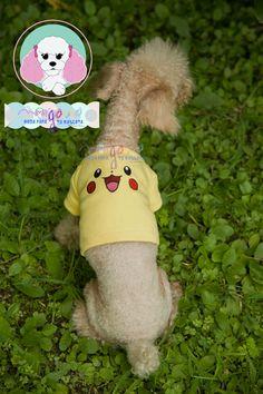 Mascota: Ginebra Talla: 1  Estampado y color: Pikachu (amarillo).  Fotografía: Tatiana Rodriguez Diseño: América García