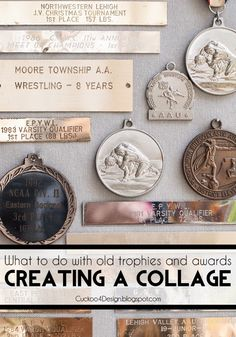 What to do with old trophies and awards? How about creating a collage? Recycling old trophies and awards Old Trophies, Sports Trophies, Trophies And Medals, Trophy Display, Display Medals, Medal Displays, Trophy Plates, Craft Projects, Craft Ideas