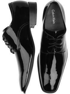 Shoes - Calvin Klein Gareth Black Patent Tuxedo Shoes - Men's Wearhouse