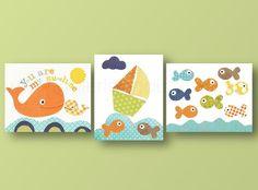 Lot de 3 illustrations pour chambre d'enfant et bebe, bleu, orange,